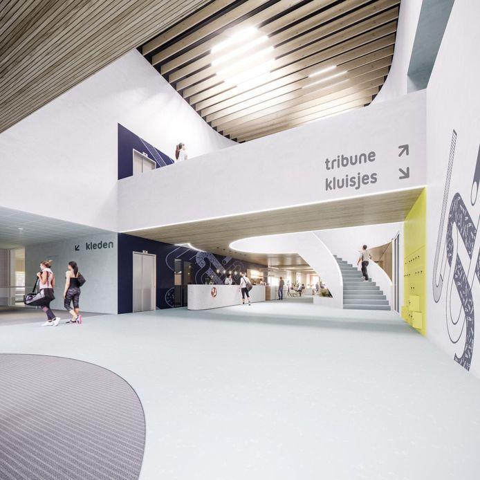 Zo komt de entree van het nieuwe binnensportcomplex van Zaltbommel eruit te zien. In zowel het zwembad als de sporthal komt een tribune voor 150 toeschouwers.