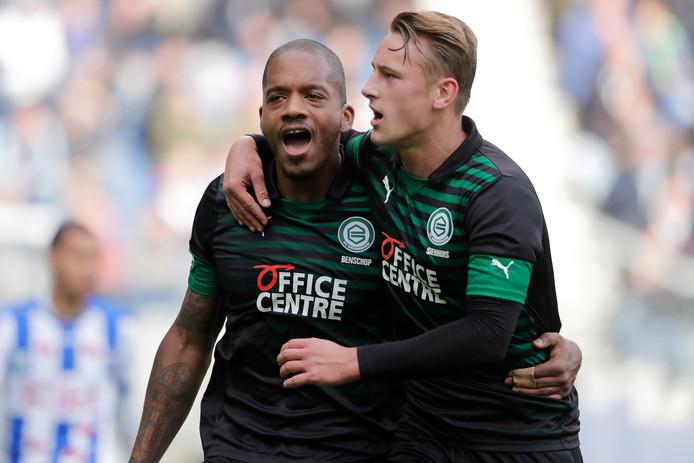Charlison Benschop en Kaj Sierhuis, de spitsen van FC Groningen.