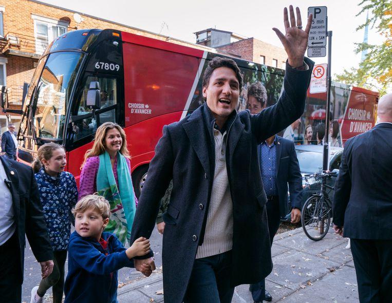 De Canadese premier Justin Trudeau met zijn gezin in Montreal.