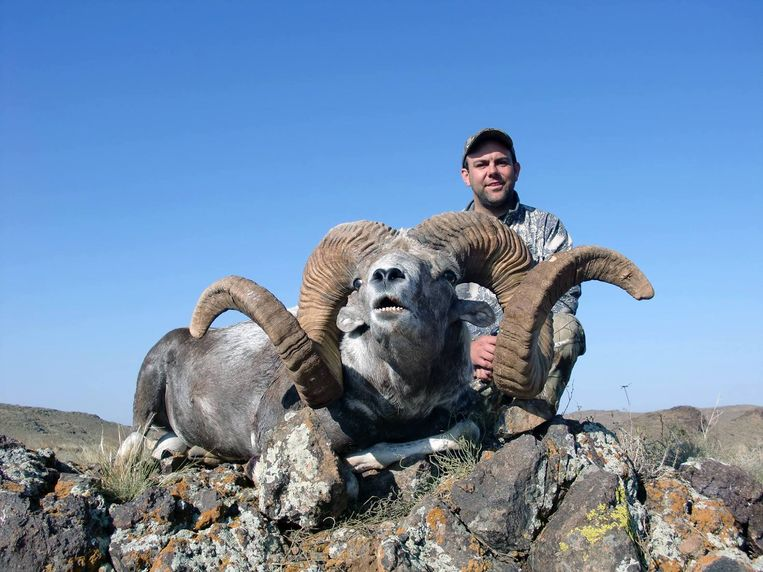 Trevor Ahlberg heeft in Mongolië een Altay Argali geschoten, een van de grootste wilde schapen ter wereld.