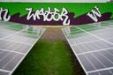 Zonnepanelen op het terrein van de waterzuivering in Arnhem-Zuid.