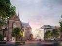 De entree van DOMUSDELA/Mariënhage aan de kant van de Kanaalstraat in Eindhoven. Duidelijk zichtbaar is de 'Knoop', het lichte pand dat de vijf monumentale delen verbindt. Links is nog een van de omstreden 'erkers' te zien die in de plaats komen van de biechtstoelen in de gevel.