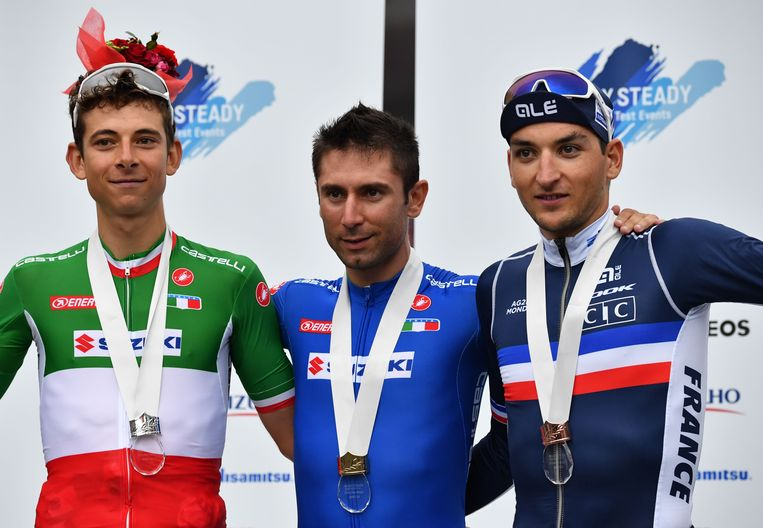 Het podium met van links naar rechts Davide Formolo, Diego Ulissi en Nans Peters.