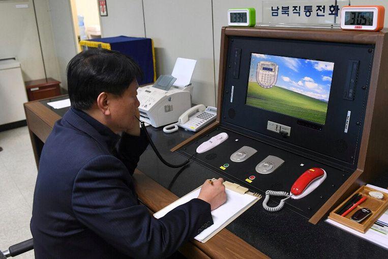 De hotline tussen Noord- en Zuid-Korea, vanmorgen gefotografeerd aan de Zuid-Koreaanse zijde.