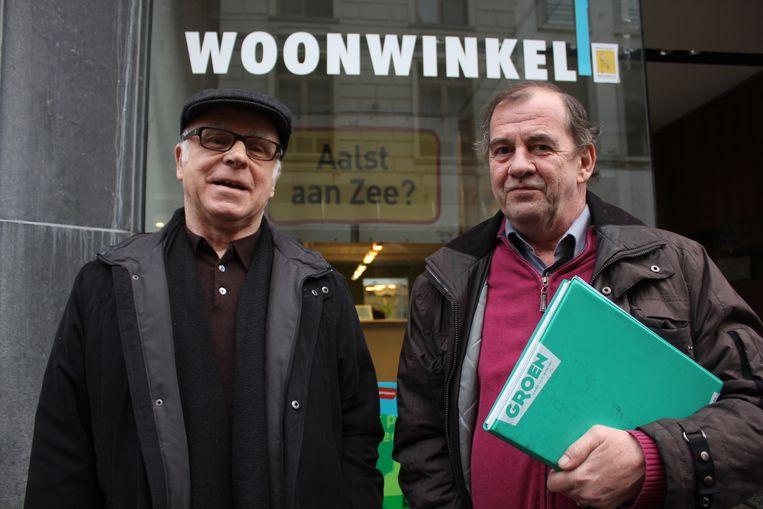 Marc De Smet en Paul Nijs van Groen bij de Woonwinkel van Aalst.
