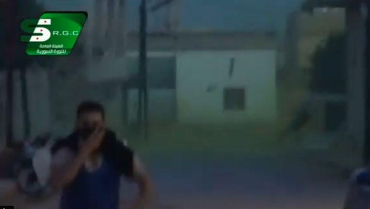 Screenshot uit het filmpje van oppositiegroep RGC met beelden uit Kafr Zeita.
