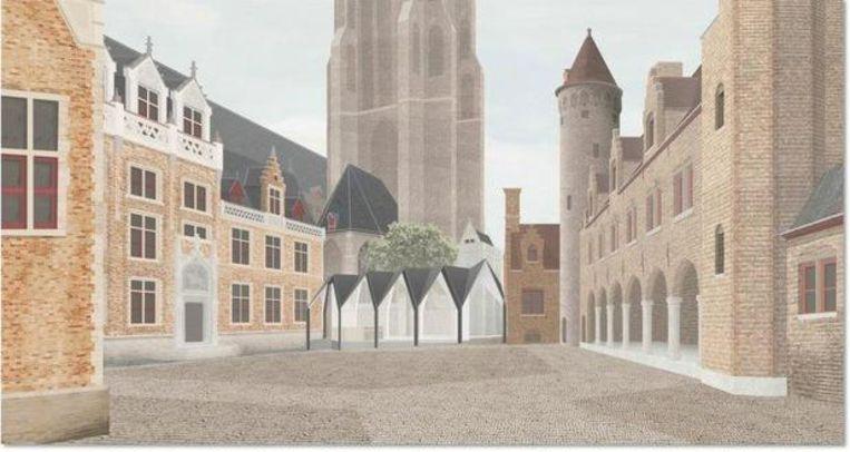 Een toekomstbeeld van het paviljoen op het Gruuthuseplein.