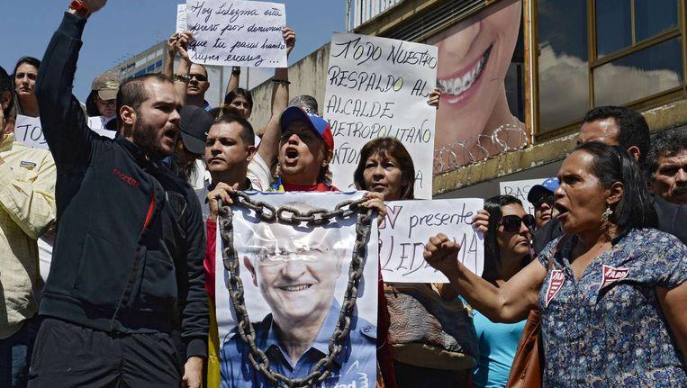 Aanhangers van Antonio Ledezma kwamen deze week te straat op uit protest tegen zijn arrestatie.