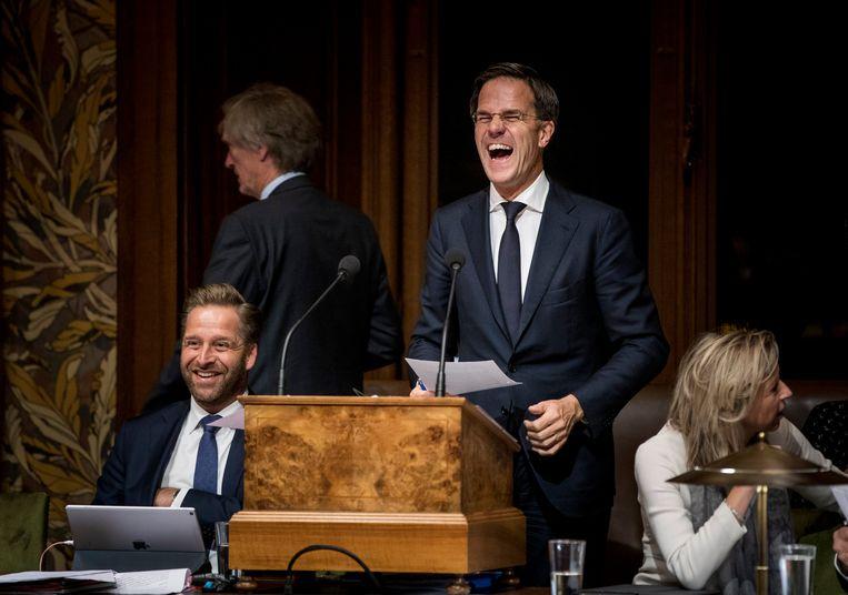 Premier Mark Rutte met Minister Hugo de Jonge van Volksgezondheid, Welzijn en Sport (CDA) (l), en Minister Kajsa Ollongren van Binnenlandse Zaken en Koninkrijksrelaties (D66) voor aanvang van de politieke beschouwingen in de Eerste Kamer.  Beeld Freek van den Bergh