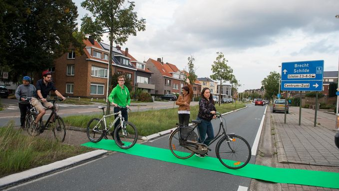Groene loper uitgerold voor fietsers
