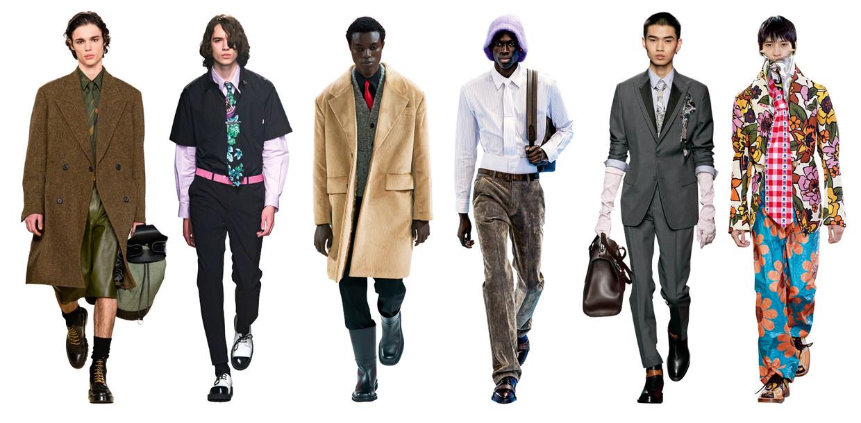 Vanaf links: Salvatore Ferragamo, MSGM, Prada, Louis Vuitton, Dior, Walter van Beirendonck Beeld Imaxtree
