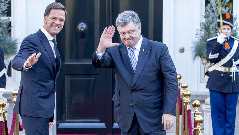Premier Mark Rutte ontvangt president Petro Porosjenko voor een werklunch, november 2015 Beeld anp
