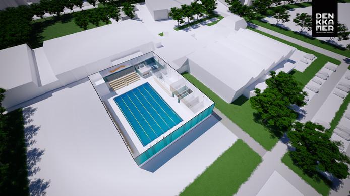 Een impressie van het nieuwe bad De Waterstroom, op de plek waar nu nog een handbalveld en een skatebaan liggen.