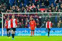 Teleurstelling bij de spelers van Feyenoord na de 1-1 tegen Heracles.