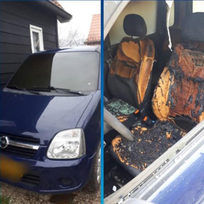 De auto van Bos werd in de vroege zaterdagochtend in brand gestoken.