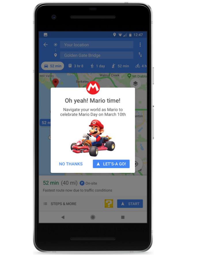 Mario rijdt alleen op de mobiele telefoon, niet op de desktop