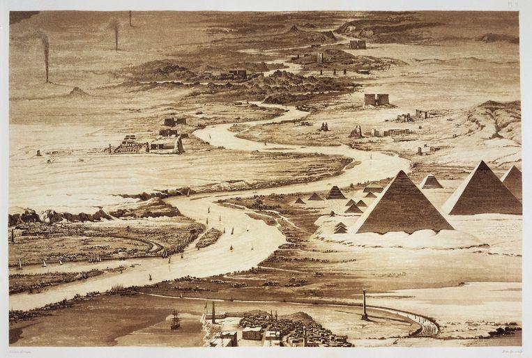 De Nijl op een gravure van Hector Horeau (1801-1872) uit 1841. Beeld De Agostini via Getty Images