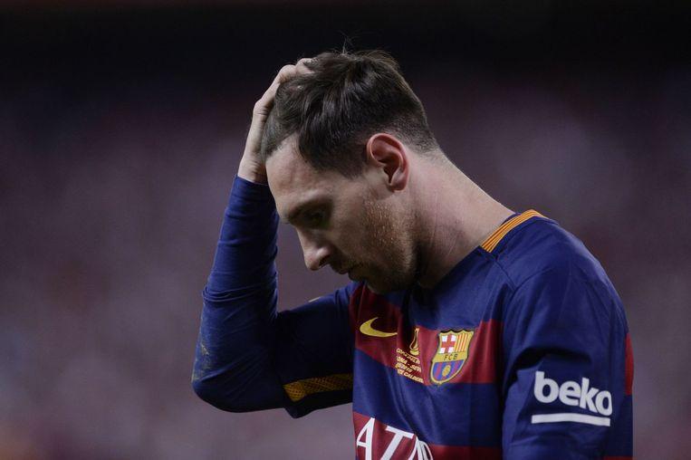 Barcelona-speler Lionel Messi tijdens de finale van de Copa del Rey tegen Sevilla in mei. Beeld null