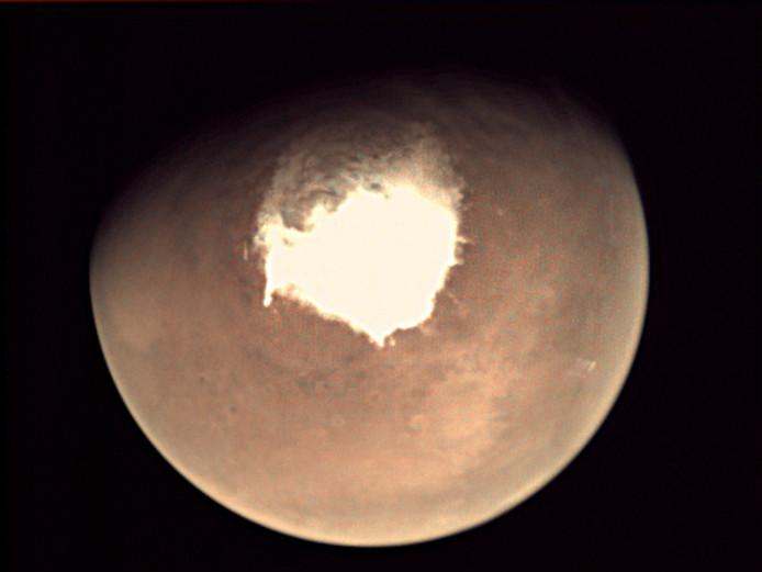 De planeet Mars, gefotografeerd door ruimtesonde Mars Express orbiter.