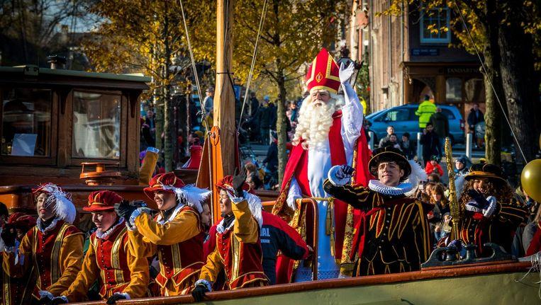 De aankomst van Sinterklaas in Amsterdam vorige week Beeld anp