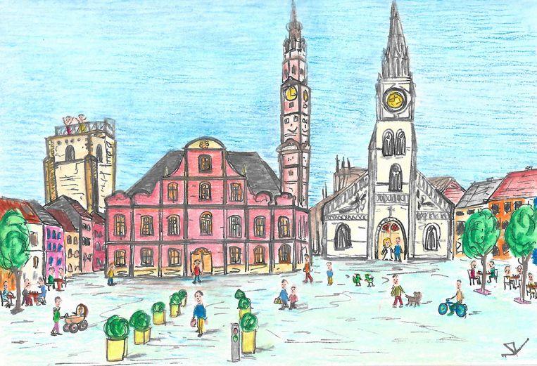 De veel besproken tekening van de Grote Markt met de in realiteit gesneuvelde platanen