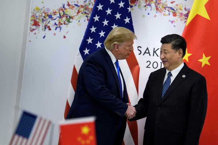 Donald Trump en Chinese president Xi Jinping op de G20-top in Japan.