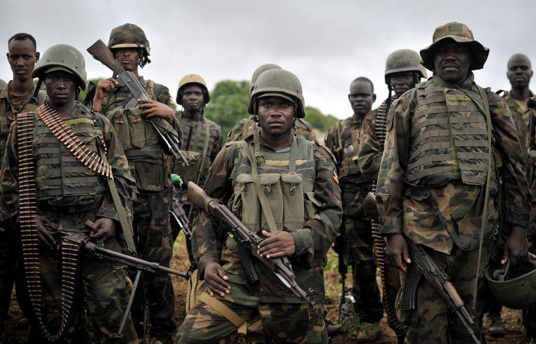 Oegandese soldaten van de Afrikaanse Unie tijdens een missie in Somalië. Oeganda blijkt het meest oorlogslustige land ter wereld.