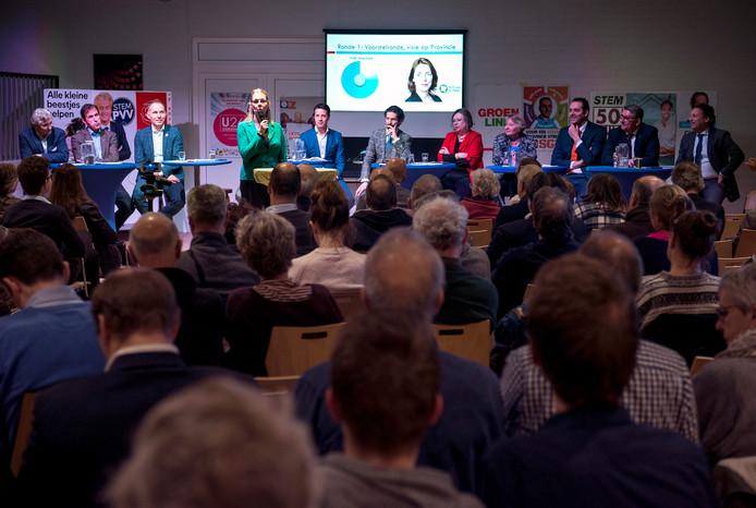 Het eerste provinciaal lijsttrekkersdebat in De Vierstee in Maartensdijk.