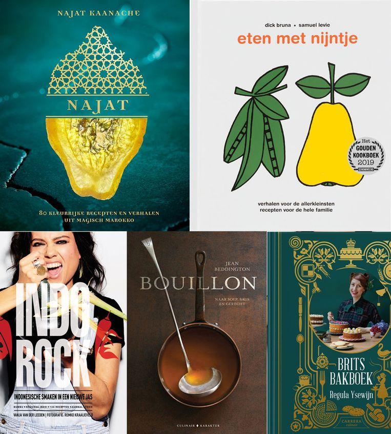 De kookboeken die dit jaar kan maken om Gouden Kookboek 2019 te worden. Beeld