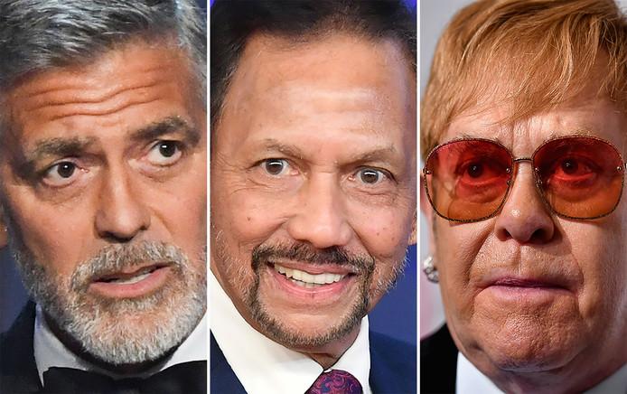 George Clooney (links), de sultan (midden) en Elton John.