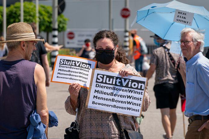 De demonstratie bij de Vion-slachterij in Boxtel, afgelopen vrijdag