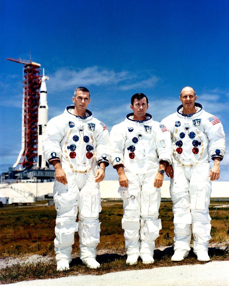 Bemanningsleden van Apollo 10, van links naar rechts: Eugene Cernan, John Young en Thomas Stafford